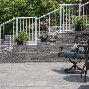 Front stairway of a home featuring AB Ashlar Blend bricks