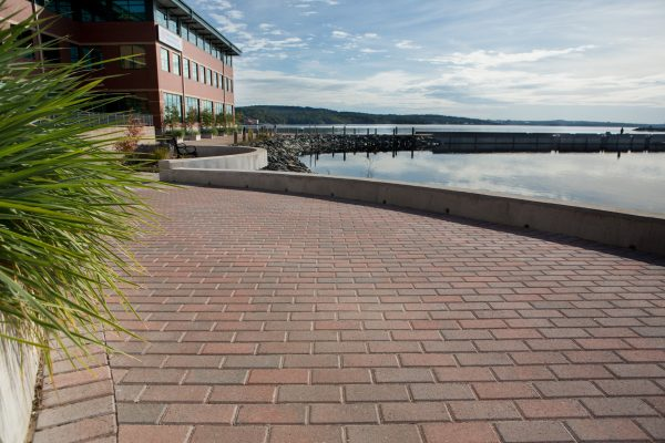 Waterfront boardwalk area featuring Shaw Brick's Classic OldStone product
