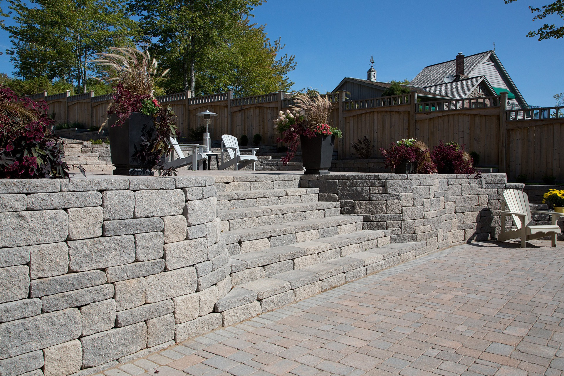 Backyard area of a home using AB Abbey Blend brick